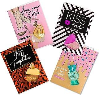 Flor de Mayo Perfume Cards Set de 4 Tarjetas Regalo con mini Eau de Parfum Mujer 4 x Tarjeta Felicitación con Mini Colonia