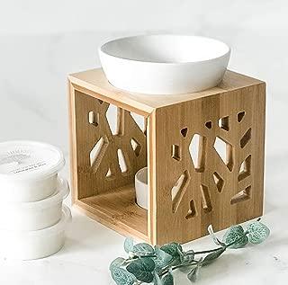 Kurrajong Farmhouse 3 scented melts and Wood Melts Warmer and Porcelain Ceramic essential oil burner,Tea Light Holder, Aromatherapy Oil Burner, Scented Oil Burner, with Matte Porcelain Bowl wax warmer