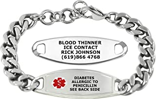 Divoti Custom Engraved Medic Alert Bracelets For men – Steelman Large Curb Stainless Steel Medical Alert Bracelet - Adjustable