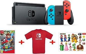 Nintendo Switch - Blu/Rosso Neon + Mario Odyssey + T-Shirt N.Switch + Stickers Super Mario