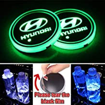 Heart Horse LED Cup Holder Lights, Car Logo Coaster with 7 Colors Changing USB Charging Mat, Luminescent Cup Pad Interior ...