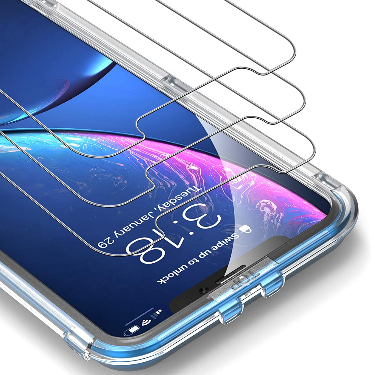UNBREAKcable iPhone XR Screen Protector [3-Pack] - 9H Hardness Tempered Glass for iPhone XR, Bubble-Free, Shatter-Proof, Free Installation Frame, Case-Friendly, 3D Touch Support