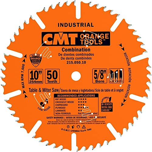 high quality CMT 215.050.10 Industrial Combination Blade, high quality 10-Inch x 50 Teeth 4ATB+1TCG Grind discount with 5/8-Inch Bore, PTFE Coating outlet online sale