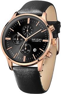 MEGIR Black Leather Strap with Calendar Chronograph Rose Gold Case Waterproof Black Quartz Watch