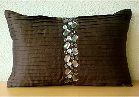 The Homecentric Designer Brown Lumbar Pillow Cover Pintucks And Crystals Bling Pillows Cover 12x16 Inch 30x40 Cm Lumbar Pillow Cover Rectangle Silk Lumbar Pillow Cover Solid Crystal Dreams Home
