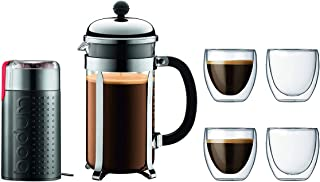 Chambord French Press Coffee Maker, 34 Ounce, 1 Liter, Chrome Plus Bistro Electric Coffee Grinder, Black, And 4 Pavina Double Wall Clear Glasses 8 oz, 0.25 l, Set
