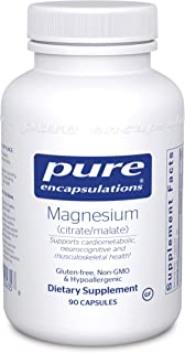 Pure Encapsulations - Magnesium (Citrate/Malate) - Hypoallergenic Supplement Supports Nutrient Utilization and Physiologic...