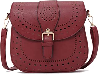Bolso bandolera de piel sintética para mujer, estilo retro, rojo (Rojo) - AEDCCN-1204