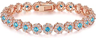 BAMOER Classic Luxury Rose Gold Plated Bracelet with Sparkling Cubic Zirconia Stones for Women Gift for Her
