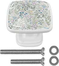 Deurknoppen 4 STKS Vierkante Glazen Deurknoppen Handvat Kast Pull Lade Keukenkast Lade knoppen met Schroeven Bloemen Ontwerp