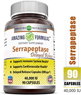 Amazing Nutrition Serrapeptase (40, 000 Units - 90 Capsules) - Natural Anti-Inflammatory - Promotes Healthy Sinuses - Supports Cardiovascular Immune and Arterial Health- Delayed Release Capsules
