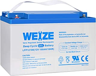 Weize 12V 100AH Pure GEL Deep Cycle Rechargeable Battery, For Solar Power System RV House Trolling Motor Wheelchair, General