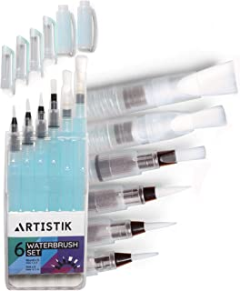 Water Brush Pen Set - (6 Piece Set) Watercolour Brush Pens for Water Coloring Painting with Assorted Brush Tips That are Refillable, for Watercolor, Lettering and Calligraphy