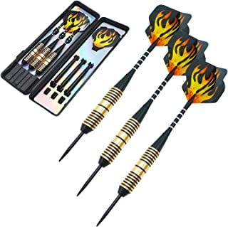 ANSOWNY Darts Steel Tip Set Professional, Steel tip Darts pro 22/26 Grams with Case, Aluminum Shafts and Black Coated Metal Barrels - 3 Pack