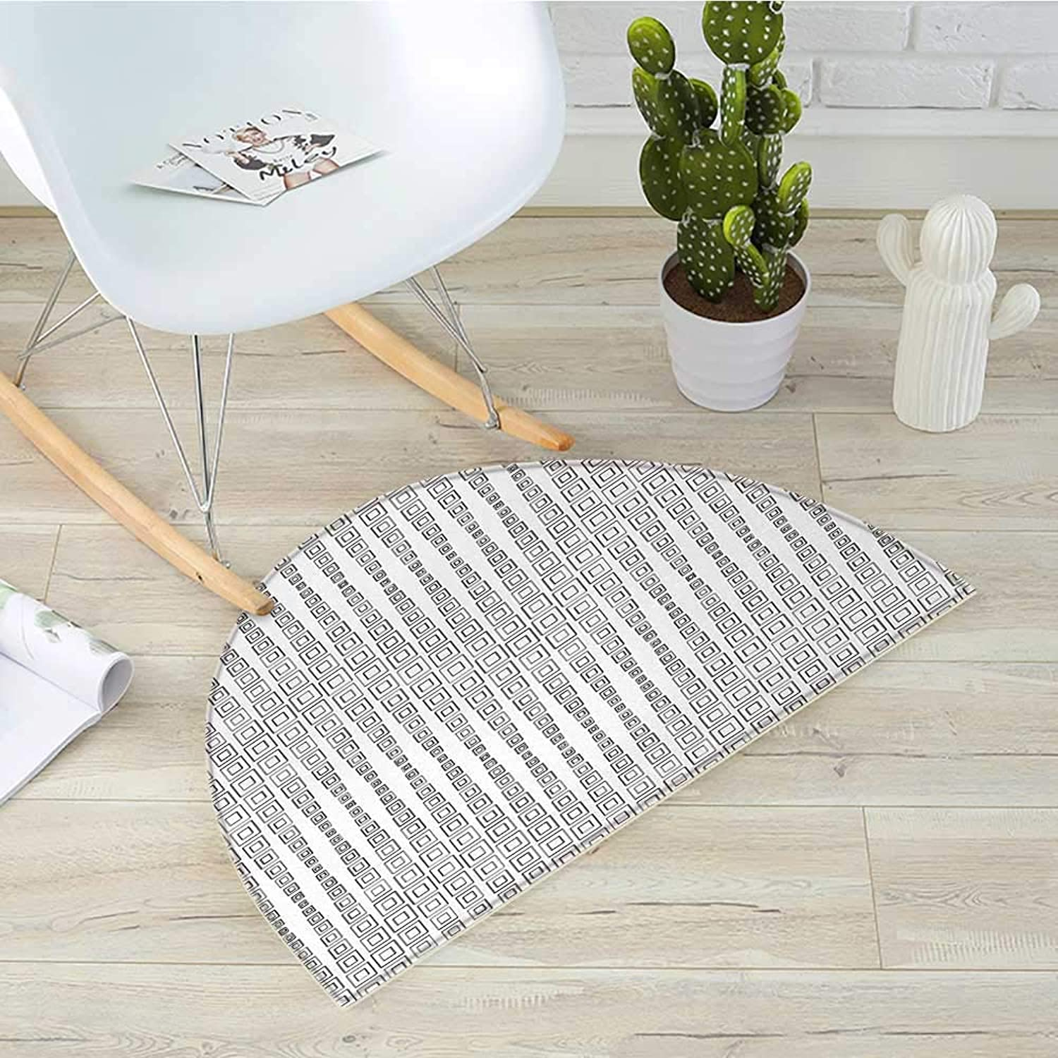 Modern Semicircle Doormat Minimalist Inner Squares Forming Fractal Figures Quadrate Abstract Geometric Design Halfmoon doormats H 19.7  xD 31.5  Grey White