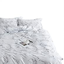 Wake In Cloud - Marble Comforter Set, 100% Cotton Fabric with Soft Microfiber Fill Bedding, Black White and Gray Grey Modern Pattern Printed (3pcs, Twin Size)