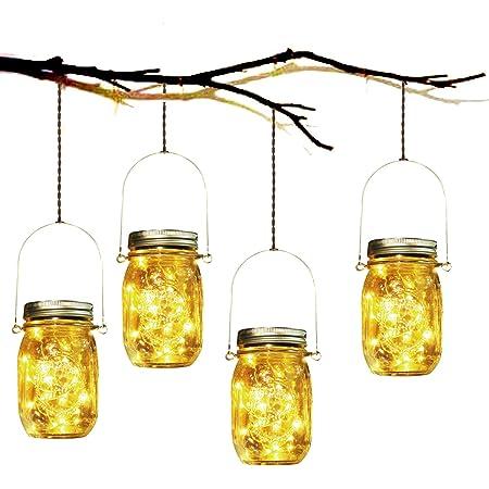 Lumière de Jardin Solaire - 4 Pièces Lanterne de Verre Solaire Imperméable Mason Jar Lanterne Jardin Exterieur pour Décoration de L'éclairage Intérieur Extérieur Chambre Maison Noël (4 Pièces)