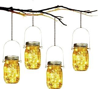 Lampada Solare, 4 Pezzi Lampade Solari Barattolo di Vetro Illuminante Impermeabile Lampade con 30 LED per da Esterno Giard...