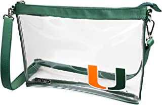 Capri Designs Clear Large Crossbody Bag, Stadium Approved with Team Logo, NCAA Licensed, PVC Color Accents