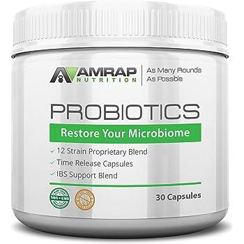 AMRAP Nutrition - Probiotics - 12 Strain Probiotic Blend for Men - Women - Time Release Formula for Maximum Potency - Improves Digestion and Immune System