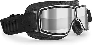Bertoni Motorcycle Riding Goggles Black Leather Chromed Frame - Anticrash Lens -Special ventilation mod. AF188A Clear Silv...