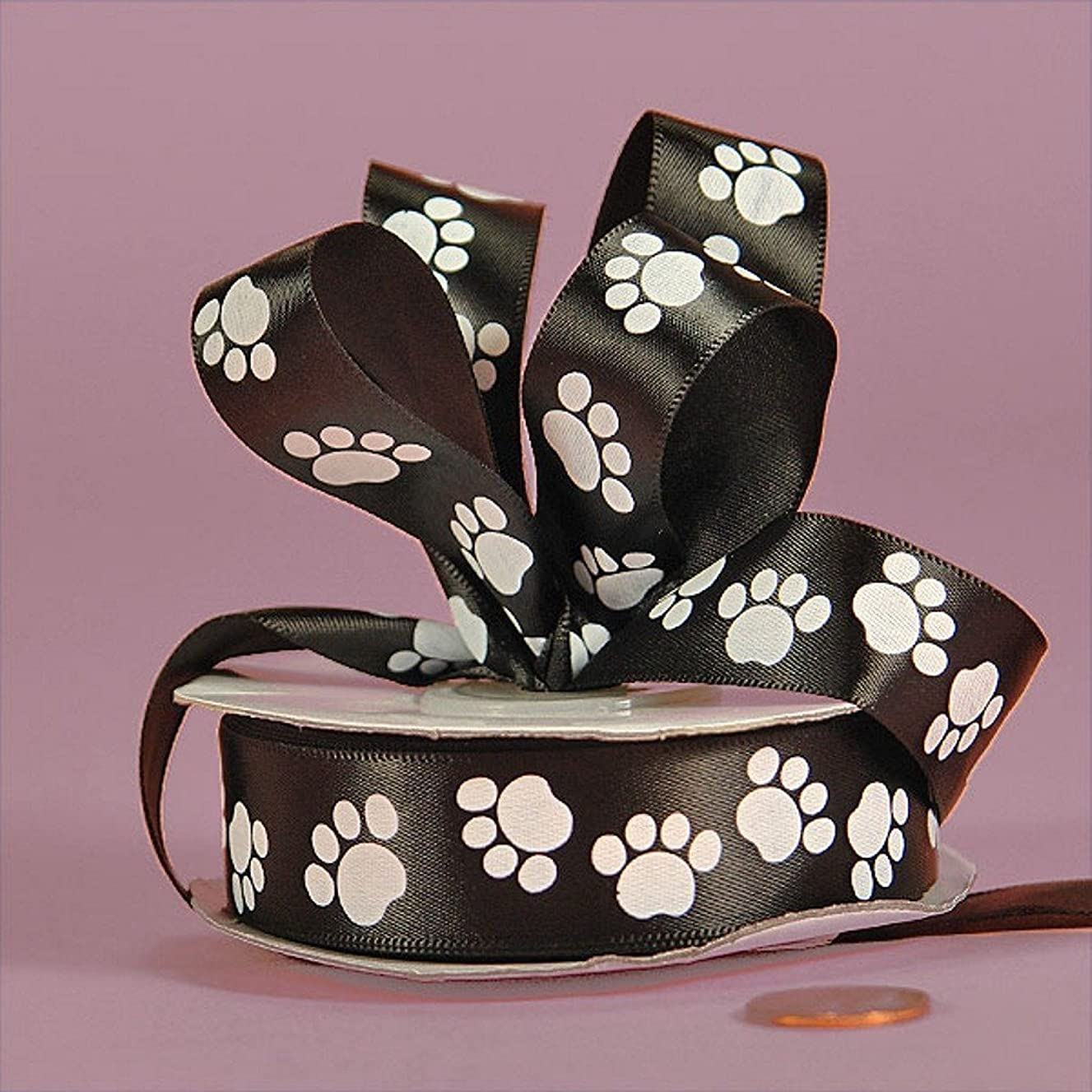 White Paw Prints On Black Satin Ribbon - 5/8in. Width - 25 Yards