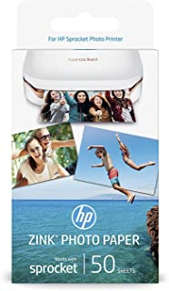 HP 2x3 Inch Zink Sticker Photo Paper for HP Sprocket Printer - 50 Sheets