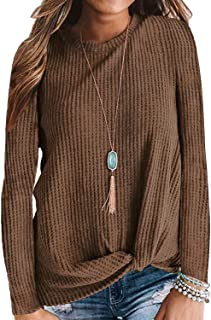 SAMPEEL Womens Waffle Knit Twist Knot Tops Fall Winter...