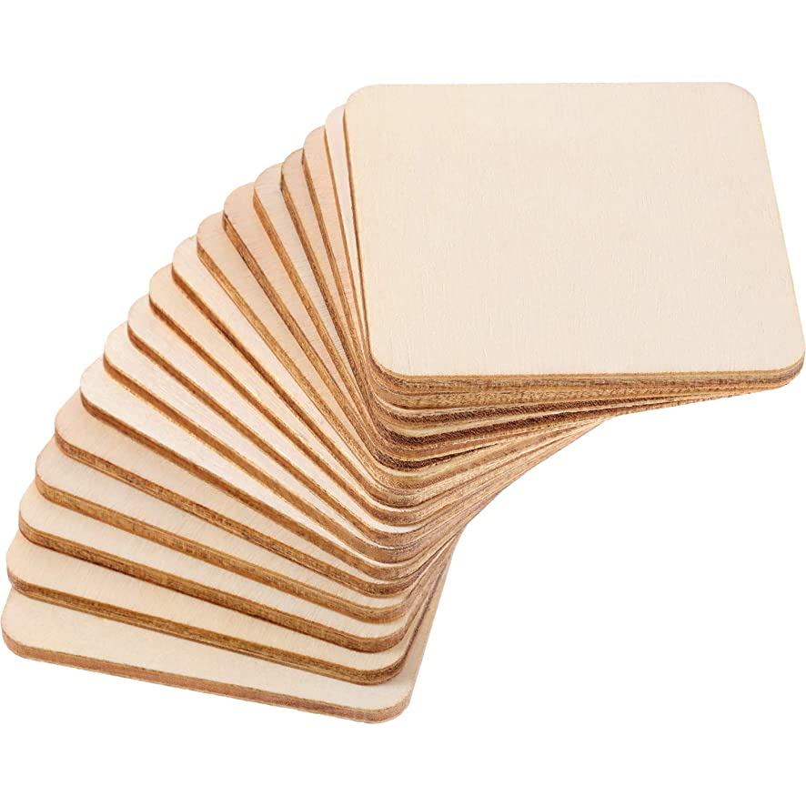 Boao Blank Wood Pieces 80 Pieces Unfinished Round Corner Wooden Cutouts for DIY Arts Craft Project, Decoration, Laser Engraving Carving (2.0 x 2.0 Inch)