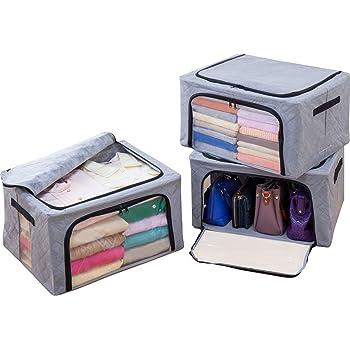 アストロ 衣装ケース 3個 Lサイズ グレー 不織布 ワイヤー入り 活性炭消臭 620-37