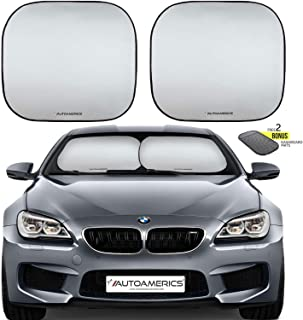 Autoamerics Windshield Sun Shade 2-Piece Foldable Car Front Window Sunshade for Most Compact Sports Cars - Auto Sun Blocker Visor Protector Blocks Max UV Rays and Keeps Your Vehicle Cool - (Small Fit)