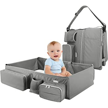 Zooawa Foldable Travel Bassinet, 3-in-1 Diaper Bag Portable Collapsible Bassinet and Travel Changing Station for Home Travel Outdoor Use, Gray
