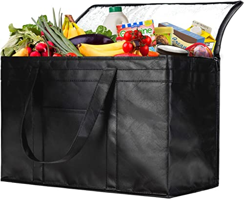 NZ home XXL Insulated Bag, Reusable Grocery Shopping Bag, Hot & Cold Food Delivery Bag, Collapsible, Washable, Heavy ...