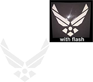 Air Force U.S. US Military Soldier 3M White Reflective United States Challenge Decal Defense Flag USA Support Hero Shield Window Decal Sticker Motorcycle Door Motorbike Badge Car Truck Tailgate