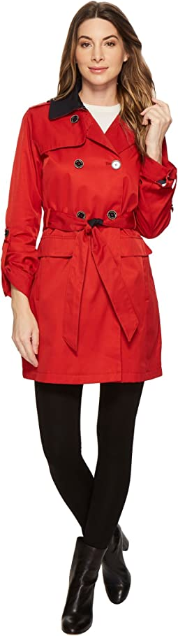 Vince Camuto - DB Belted Trench with Contrast Color and Roll Up Sleeves