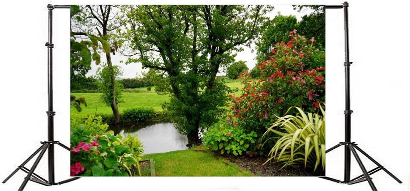 AOFOTO 10x7ft Beautiful Garden Landscape Backdrop Pond Tree Bushes Green Grass Photography Background Summer Colorful Botanical Plant Lawn Meadow Spring Grove Scenery Park Gardening Photo Studio Props