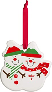 Tiny Ideas Expecting Couple Snowman Keepsake Ornament, Perfect New Baby Holiday Gift for Parents to Be, White