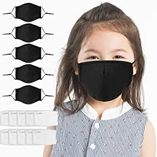 5 Pcs Kids Reusable Breathable Face Mouth Cotton Cloth Fabric Protect Child Children Washable Comfortable Safety for Dust Protection With 10 Filters (black)