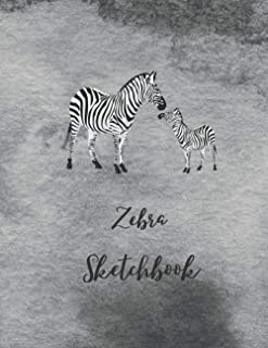 "Zebra Sketchbook: Novelty Animal Sketchbook, 120 Blank White Pages, Handy Larger Size (8.5""x11""), High Quality matte cover..."