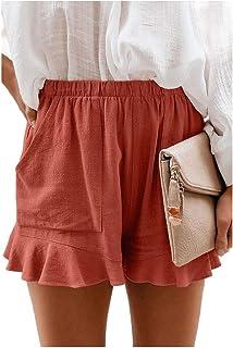 HEFASDM Womens Beach with Pockets Loose Casual Falbala Shorts