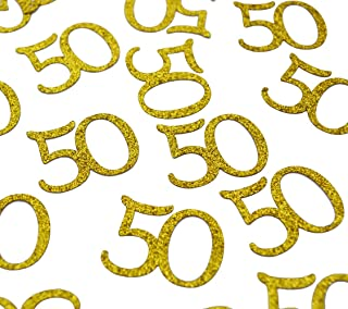 Happy 50th Birthday Confetti, 100 Pcs Glitter Gold Number 50 Table Confetti for 50th Birthday, Anniversary Party Supplies (50,Gold)