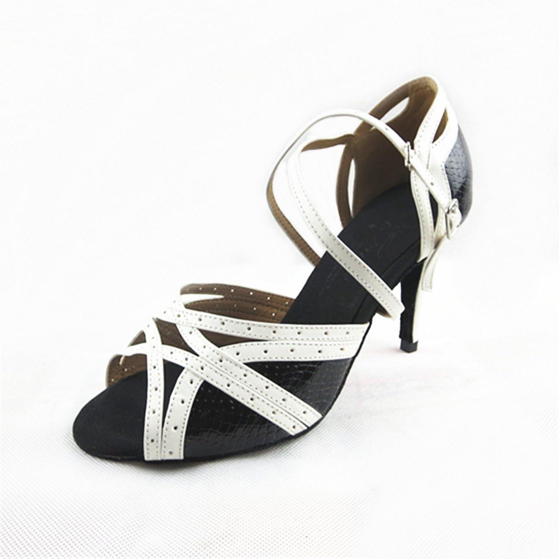 YFF Geschenke Frauen Dance schuhe Ballroom Latin Dance Tango Tanz schuhe 8.5cm,schwarz Weiß,34