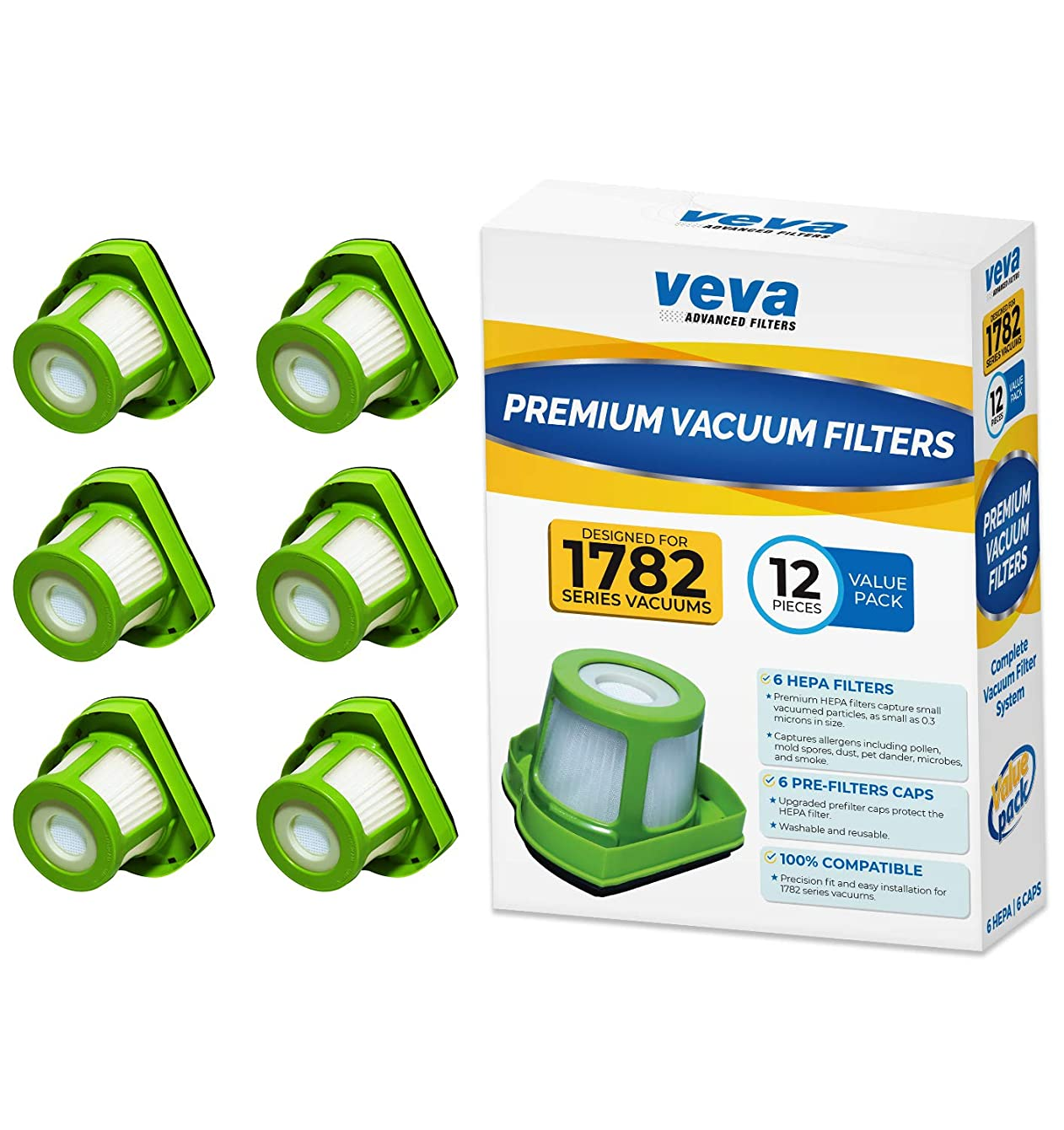 VEVA Premium Vacuum Filter Set with 12 Pieces Total of 6 HEPA Filters and 6 Covers Compatible with Bissell 1782 Pet Hair Eraser Cordless Hand Vac, Part # 1608653 & 1608654