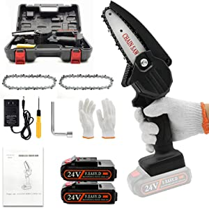 Mini ChainSaw with 2 Battery,Upgraded 4Inches Cordless Electric Pruning Chain Saw with Replacement Chain, One-Handed Portable Chainsaw for Branch Wood Cutting Garden Tree Logging Trimming