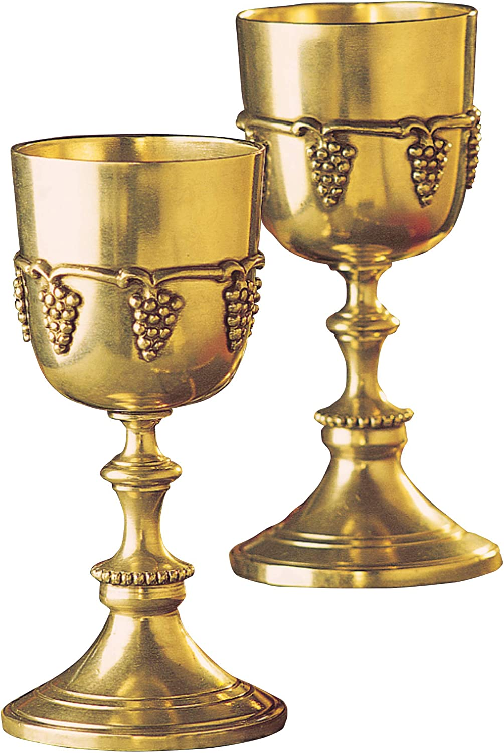 Design Toscano Grape Harvest Solid Brass Goblets - Set of Two with Gift Box