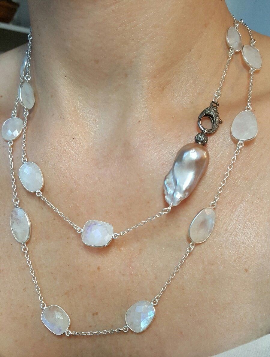 Diamond clasp freshwater pink Pearl Max 53% Max 49% OFF OFF flash sil Moonstone 925 blue