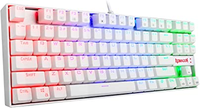 Redragon K552W-RGB Mechanical Gaming Keyboard Compact 87 Key Mechanical Computer Keyboard KUMARA USB Wired Cherry MX Blue Equivalent Switches for Windows PC Gamers (White RGB Backlit)