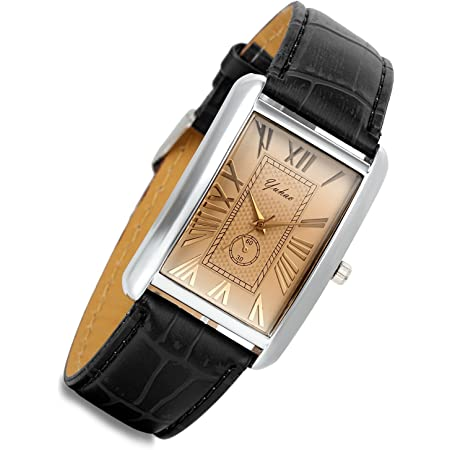 Lancardo Retro Vintage Square Quartz Analog Watch Silver Tone Case Crocodile Pattern Brown Leather Business Casual Dress Wrist Watch
