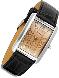 Lancardo Retro Vintage Square Quartz Analog Watch Silver Tone Case Crocodile Pattern Brown Leather Business Casual Dress Wrist Watch