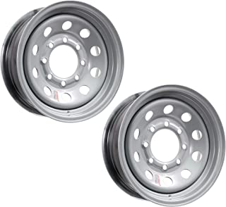 2-Pack Heavy Duty Equipment Trailer Rims Wheels 16 in. 16X6 8H Silver Modular